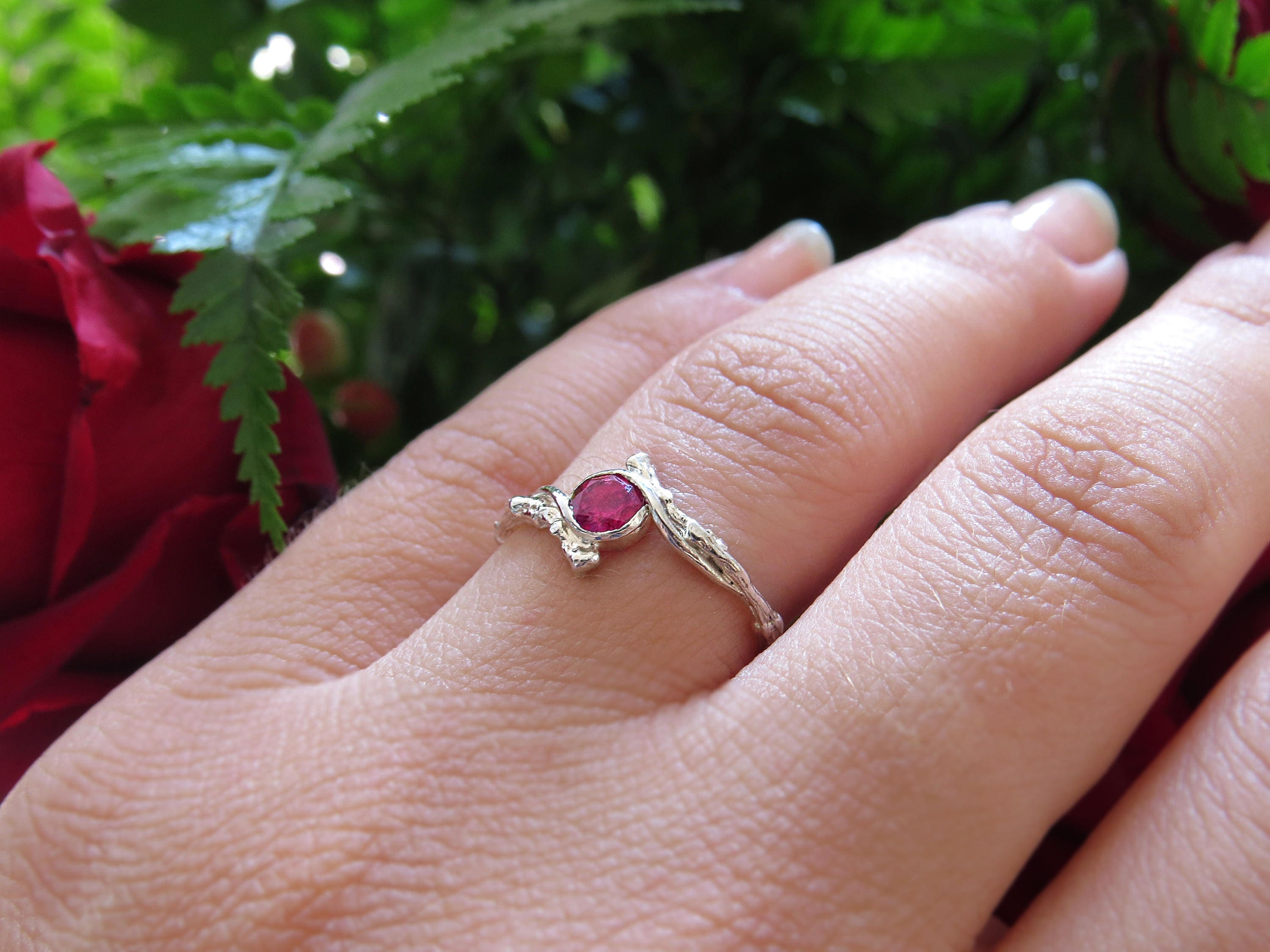 Ruby Engagement Ring Twig Engagement Ring with Ruby Natural