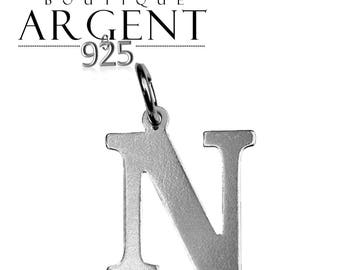 Charm 925 sterling silver letter N initial name