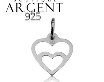 Heart shaped charm 15.6 X 11.5 mm Sterling Silver 925