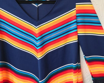 1970's Rainbow Print Fringe Top