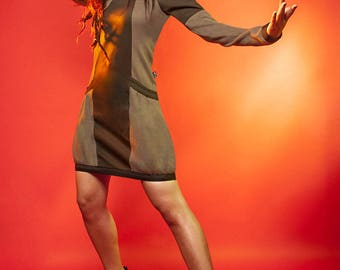 Nelam khaki cotton dress