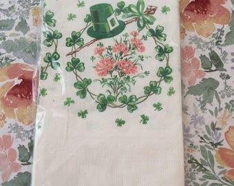 Vintage Handi-Set St. Patrick's Day Paper Tablecloth / Table Cover - Four Leaf Clovers
