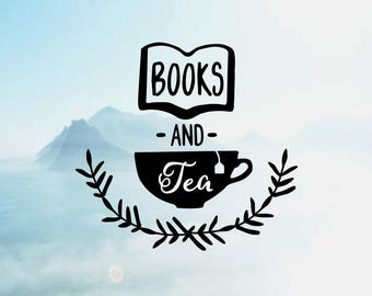 Books and Tea Vinyl Decal <DP036>
