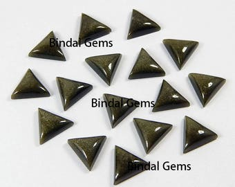 10 Pcs Natural Gold Sheen Obsidian Triangle Shape Smooth Calibrated Cabochon Loose Gemstone