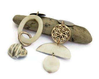 Asymmetrical earrings, Clip on earrings, Mismatched earrings, Asymmetric, Rose gold jewelry, Silver earring, Shell earrings, Gift for her II