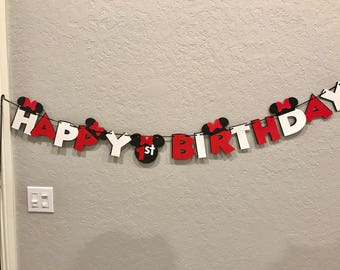 Minnie Mouse HAPPY BIRTHDAY Banner - Red, White & Black