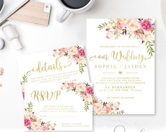 Wedding Invitation Suite Rsvp Thank you, Gold text Watercolor flowers Peach Boho Printable Invitation DIY Wedding set, DIGITAL FILES, WS12
