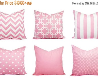 15% OFF SALE Baby Pink Pillow Cover - 20 x 20 inch Pink Pillow 16 x 16 Inch - Decorative Throw Pillow - Pink Chevron Pillow - Pink Nursery P
