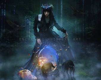 Halloween Witch with cat and crows art print