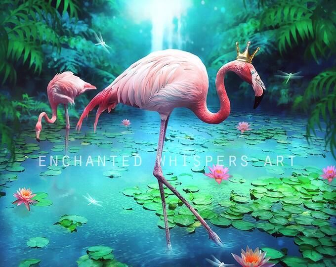 Whimsical pink Flamingo art print