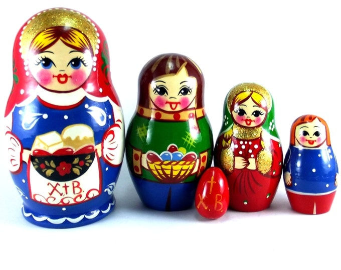 Nesting Dolls 5 pcs Russian matryoshka Babushka doll for kids Wooden authentic stacking handpainted toys set Easter gift
