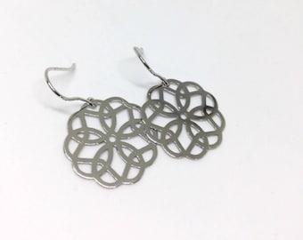 Sterling Silver Earrings Flower Dangles Mandala Earrings Small Silver Drops Flower Earrings Filigree Open Work Earrings