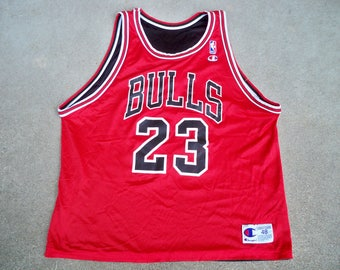Vintage Champion Reversible Chicago Bulls Michael Jordan #23 NBA Basketball Bball Jersey Uniform Size 48