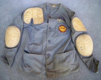Vintage Leather Marksman Rifle NRA Club Shooting Men's Jacket & Patches Size Large Made in USA Super Cool Stitching