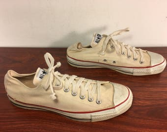 Vintage CONVERSE Chucks All Star Tan Canvas Low Top Men's Shoes Sneakers Kicks Made in USA Size 10