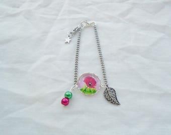 Poppy cabochon bracelet