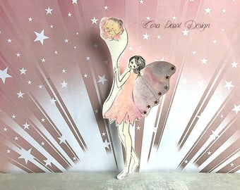 Watercolor Painting Bookmark - Flower Fairy Paper Doll Bookmark - Fairytale Bookmark - Original Watercolour Painting Bookmark