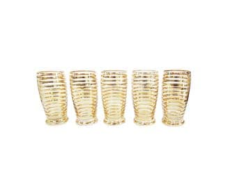 Vintage Mid Century Gold Striped Glasses Set of 5