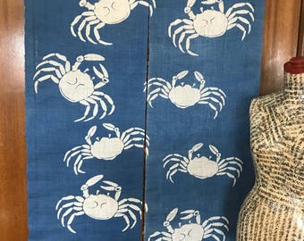 Blue and white Japanese noren curtain with crab design