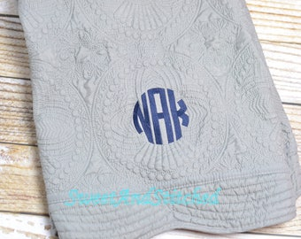 Monogrammed quilt Gray and Navy, Quilt, monogrammed Baby quilt, Personalized Quilt with gray monogram, heirloom baby quilt, baby shower gift