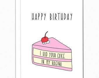 Birthday Card Boyfriend. Birthday Card For Him. Birthday Gifts For Boyfriend. Funny Birthday Card Naughty Birthday Card. I Hid Your Cake 046