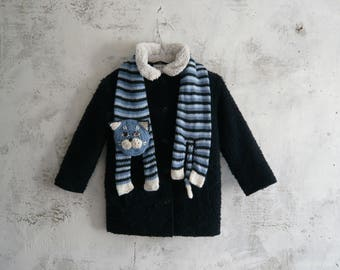 Striped cat scarf, Kid fun scarf, Blue cat knitted scarf, handmade knitted scarf for boy or girl, Winter scarf