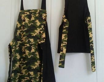 Apron sets, Mommy and me aprons reversible green camo with black back