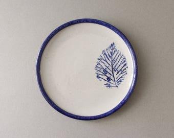 3 Available - Mette Løkke Stiil Ceramic Plates Danish Pottery Blue Leaf Denmark
