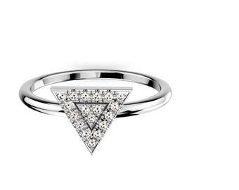 14K White  Gold Triangular Ring, 19 diamond 1 MM , CTW 0.10