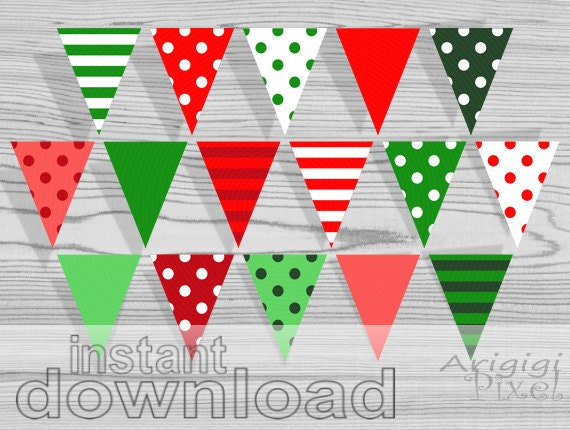 Printable Banner - Polka Dot and striped -Christmas red green - PDF