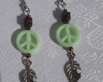 leaf charm and green hippie earrings