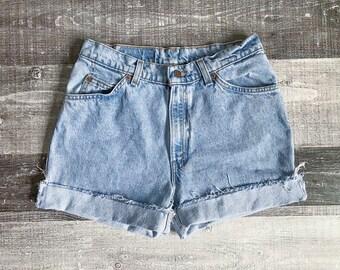 Levi's High Waisted Shorts Vintage Levis Cut Off Shorts Levi Shorts High Waist Denim Cutoffs Distressed Orange Tab Jean 4 6 8 Small Medium