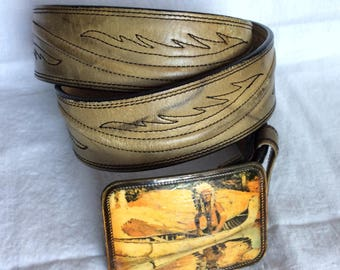 70s retro vintage leather belt Native American buckle image size 38