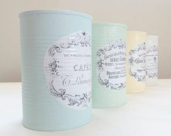 Tin can vases set of four, shabby chic  cans, table centepiece, french typgraphy holders , wedding decoration, pen / utensils holder