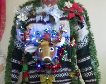 Light Up Ugly Christmas Sweater Christmas Cat Also