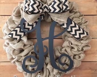 Front Door Wreath / Burlap Wreath / Initial Wreath / Front Door Letter Wreath / Fall Wreath / Monogram Wreath