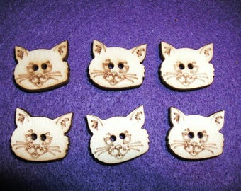 6 wooden buttons cat 2 x 1.5 cm (15-0004A)