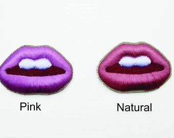 Lips 3D Embroidered patch, Lips patch, Kissable Lips, Hot Lips Patch, Iron on Patch, Fashion Patch, Jacket Patch, Fun Patch, Pink Lips patch