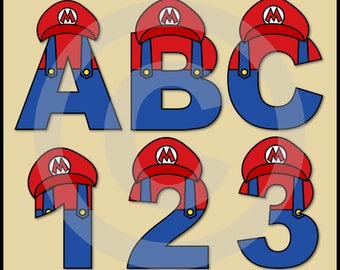 Mario (Super Mario Brothers) Alphabet Letters & Numbers Clip Art Graphics