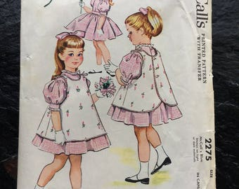 Vintage 1950s Girls', Child's Dress and Pinafore Pattern // McCall's 2275, size 4 > full skirt > 1958 > Designed by Helen Lee