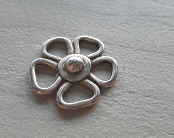 Flower connector, silver, matte silver finish