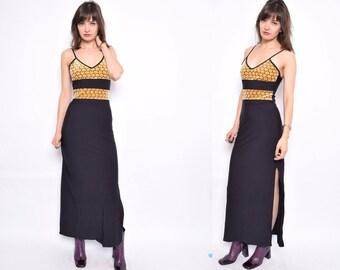 Vintage 90's Animal Print Black Maxi Dress / Strappy Side Slit Dress-  Size Small