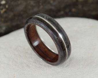 Wood Ring - Grey Maple & Rosewood with Dinosaur Bone, Meteorite and Silver inlays. Bent Wood Rings in Any UK or US Size