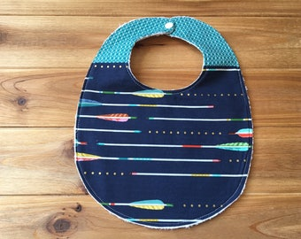 Bib ~ Two Toned/Quilted ~ Aztec//Tribal//Gold//Native//Indian//Arrow//Metallic