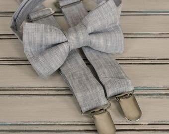 Light Gray Linen skinny tie, Skinny tie, Pocket square,  Regular Tie, Bow tie and suspenders for Men, Youth, Boys
