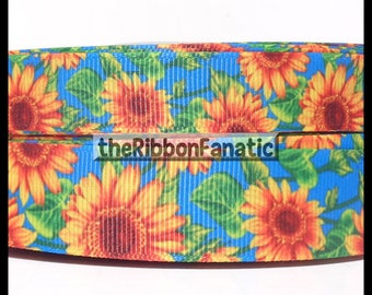 "5 yds  5/8"" and 7/8"" Sunflowers on Blue  Grosgrain Ribbon"
