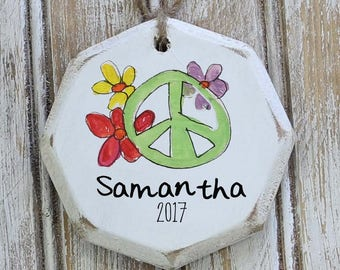 peace sign ornament, boho Christmas decor, custom ornaments, ornament exchange, boho Christmas, hippie Christmas