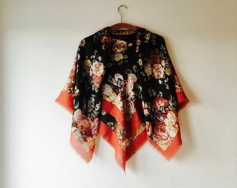Large olive green vintage Russian floral folklore shawl // Onesize