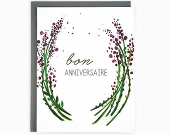 Bon Anniversaire - French birthday greeting card - lavender wreath / BIR-LAVENDER