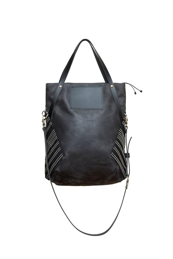 MONACO - leather messenger bag, top handle bag, foldable - black
